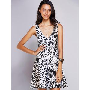 Stylish V-Neck Print A-Line Dress For Women - Black - S