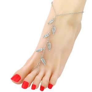 Bohemia Leaf Tassel Alloy Toe Ring Anklet