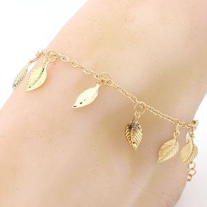 Leaf Charm Gold Plated Girl Beach Anklets