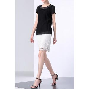 Lace Insert Pleated Top -