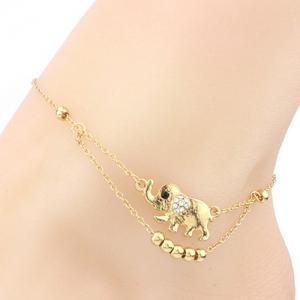 Rhinestone Elephant Beads Charm Girl Layered Anklet - Golden