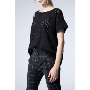 Loose Fit Black Eyelet T-Shirt -