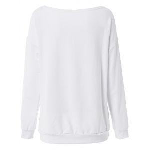 Casual Scoop Collar Long Sleeve Letter Pattern Loose-Fitting Women's Sweatshirt - WHITE 2XL