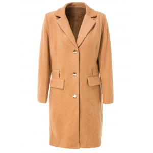 Stylish Turn-Down Collar Long Sleeve Pure Color Mid Length Coat For Women - Camel - S