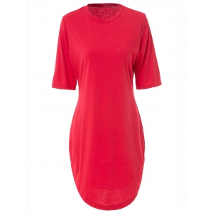 Sexy Round Collar Red Short Sleeve Dress For Women