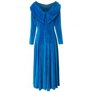 Retro Style Solid Color Slash Neck Long Sleeve Flare Midi Dress For Women - BLUE S