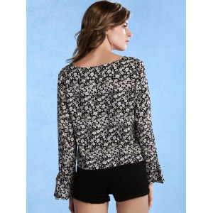 Sweet Scoop Neck Flare Sleeve Tiny Floral Print Women's Blouse -
