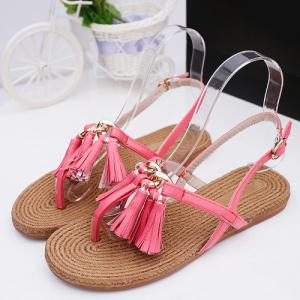 Leisure Tassels and Flat Heel Design Sandals For Women -