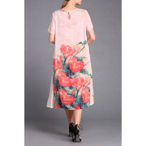 Floral Print Tulle Spliced Dress Twinset -