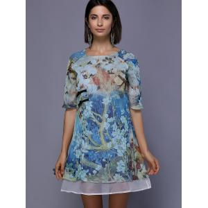 Retro Style Floral Painting Split Front Round Neck Dress For Women -