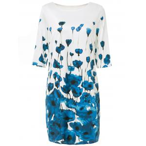 Stylish Round Neck Half Sleeve Floral Print Bodycon Dress For Women