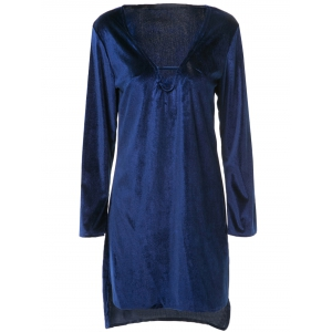 Women's Stylish V-Neck Cut Out Pure Color Long Sleeve Asymmetrical Dress