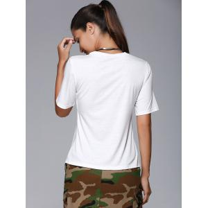 Overlap Front Slit Fitted T-Shirt -