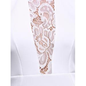Lace Insert Long Sleeve Mini Fitted Dress - WHITE 2XL