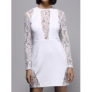 Lace Insert Long Sleeve Mini Fitted Dress - White - S