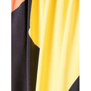 Color Block Maxi Empire Waist Dress with Sleeves - BLACK S