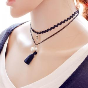 Vintage Layered Faux Pearl Tassel Necklace - BLACK