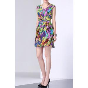 Butterfly Print Colorful Ruffle Dress -