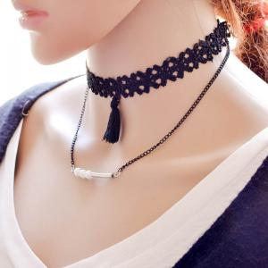 Vintage Layered Tassel Faux Pearl Necklace For Women -