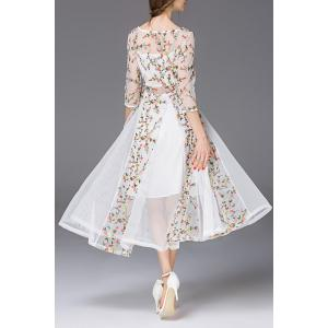 Boat Neck See Through Floral Embroidered Dress -