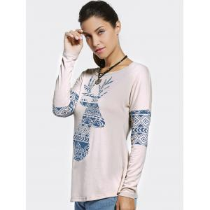 Ethnic Style Jewel Neck Long Sleeve Printed T-Shirt For Women -