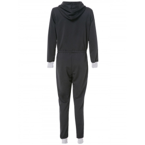 Fashionable Women's Hooded Long Sleeve V-Neck Jumpsuit -