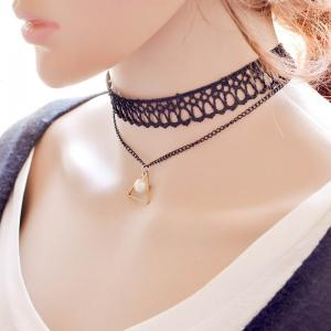 Vintage Layered Faux Pearl Triangle Necklace For Women - BLACK
