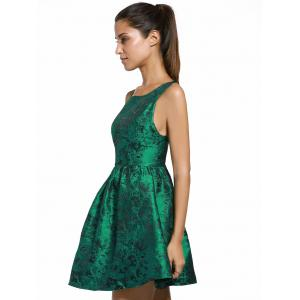 Elegant Jewel Neck Sleeveless Cut Out Floral Dress For Women -