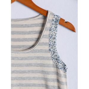 Simple Scoop Neck Striped Floral Hem Tank Top For Women - STRIPE L
