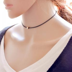 Vintage Lucky Bead Choker Necklace - BLACK