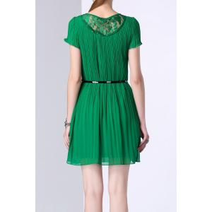 Lace Spliced Hollow Out Pleated Dress -