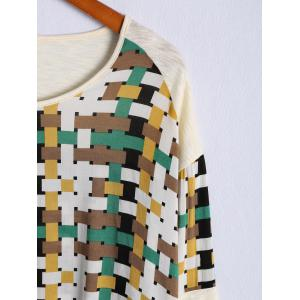 Fashionable Scoop Neck Long Sleeve Color Block Patchwork T-Shirt For Women -