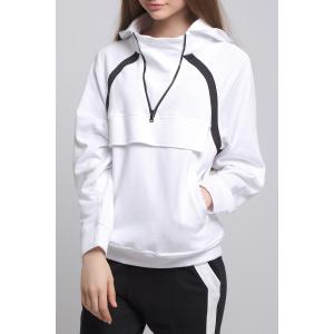 Zipped Front Pocket White Hoodie -