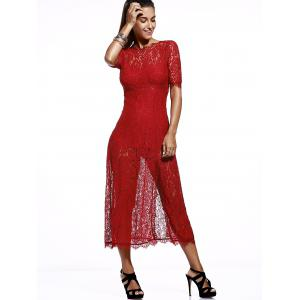 Elegant Round Neck Cut Out Slit Lace Dress For Women -