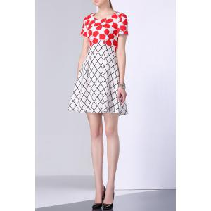 Flower Print Checked Panel Dress -
