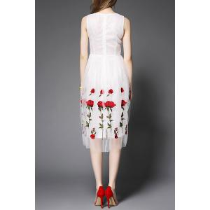 Stand Neck Sleeveless Rose Embroidery Dress -