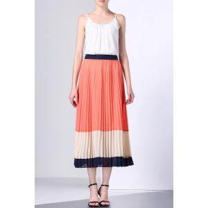 Hit Color Pleated Chiffon Long Skirt -