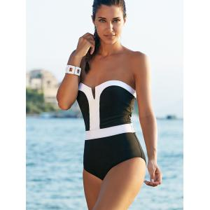 Alluring Strapless Color Block One-Piece Swimsuit For Women - WHITE/BLACK L