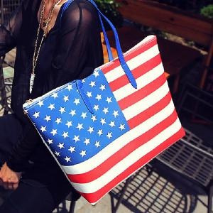 Casual Flag Pattern and Zip Design Shoulder Bag For Women -