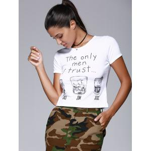 Brief Round Collar Short Sleeve Letters Wine Glasses Print Women's T-Shirt -