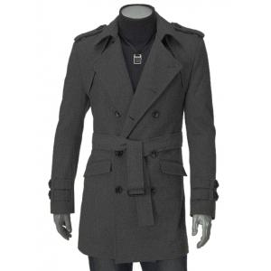 Turn-Down Collar Epaulet Design Double Breasted Long Sleeve Woolen coat For Men