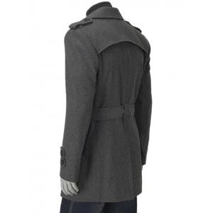 Turn-Down Collar Epaulet Design Double Breasted Long Sleeve Woolen coat For Men - GRAY 2XL