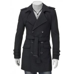 Turn-Down Collar Epaulet Design Double Breasted Long Sleeve Woolen coat For Men - Black - M