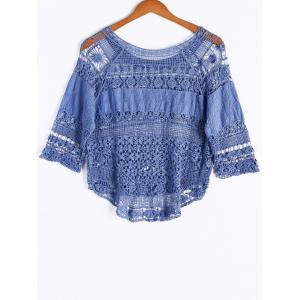 Bohemian Scoop Neck Crochet 3/4 Sleeve Asymmetric Solid Color Blouse For Women -
