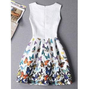 Sleeveless Butterfly Mini Casual Spring Everyday Dress - WHITE M