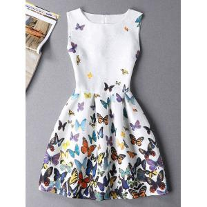 Sleeveless Butterfly Mini Casual Spring Everyday Dress - White - L