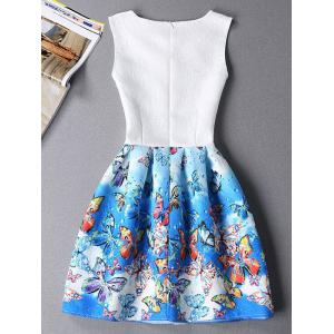 Cute Sleeveless Round Neck Butterfly Print Ombre Women's Dress - BLUE S