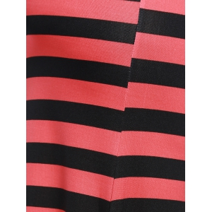 Casual Style Black And Red Stripe Print Maxi Skirt For Women -