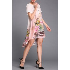 Lotus Flower Print Asymmetric Dress -