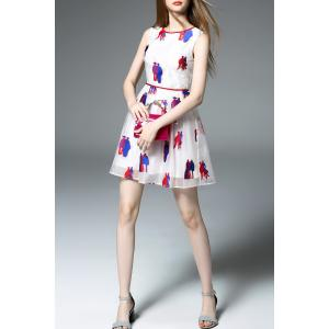 Cartoon Embroidered Mini Dress -